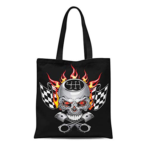 Semtomn Cotton Canvas Tote Bag Car Race Skull Piston Decal Flame Graphic Cross Fire Reusable Shoulder Grocery Shopping Bags Handbag -