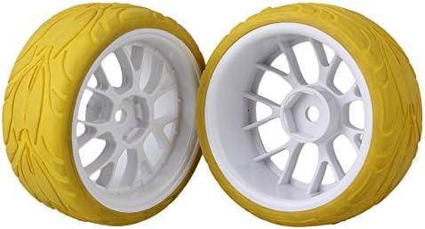 MxfansホワイトYシェイププラスチックホイールリム+イエロー魚スケールパターンラバータイヤfor RC 1: 10On Road Car Set of 4