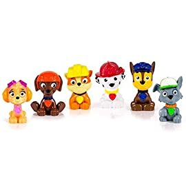 Spin master paw patrol figure set 6 piece 8 paw patrol miniature figures, individually packaged, set of 6 miniature figures includes: rubble, chase, skye, zuma, rocky and marshall take paw patrol mini pups in your pockets everywhere you go! Paw patrol miniature figures measure approximately 1 -3/4 inches in height.