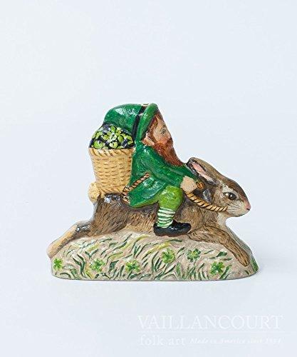 Vaillancourt Folk Art 2017 Irish Santa Gnome Ridding Rabbit