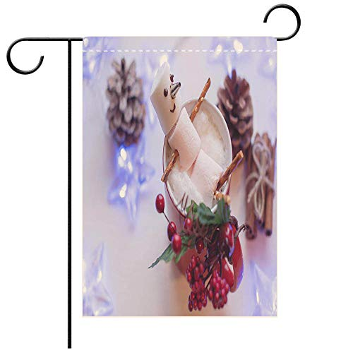 BEICICI Artistically Designed Yard Flags, Double Sided Marshmallow Snowman in red Cup of hot Chocolate Best for Party Yard and Home Outdoor Decor