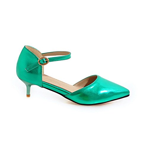 Pumps BalaMasa Womens Solid Shoes Green Buckle Toe Urethane Pointed wUq6wY