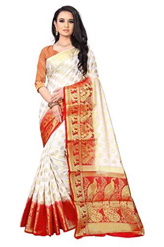 Exponiq® Women's Kanchipuram Silk Saree Pure Paithani Style With Blouse Piece (EXD11 White Red)