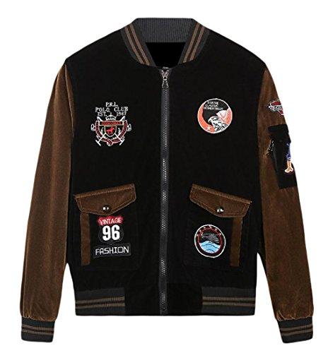 XINHEO Men with Zips Embroidery Stand up Collar Warm Jacket Coats Khaki