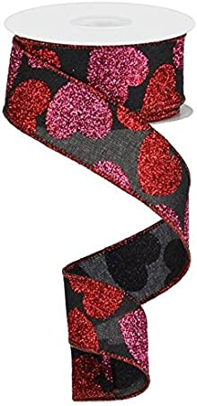 White, Red, Pink, 1.5 10 Yards Glitter Hearts Wired Edge Ribbon
