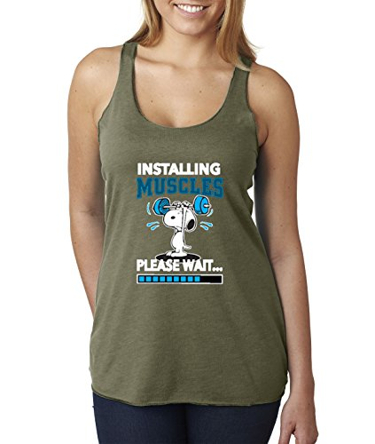 New Way 433 - Women's Tank-Top Installing Muscles Please Wait Snoopy Peanuts Workout Training Gym Large Military Green ()