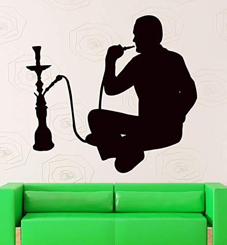 (Dalxsh Wall Stickers Hookah Smoking Arabic Cafe Decor Shisha Vinyl Decal Wall Window Decals Lounge Sticker Home Decoration)