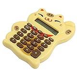 DealMux Lucky Cat Design Button Battery Power 8 Digits Calculator, Wheat