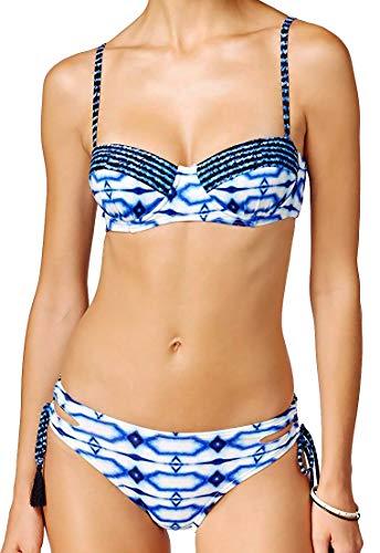 Michael Kors 2 Piece Bikini Set - Summer Breeze Underwire Bra Top & Cut Out Loop Side Tie Briefs Blue L