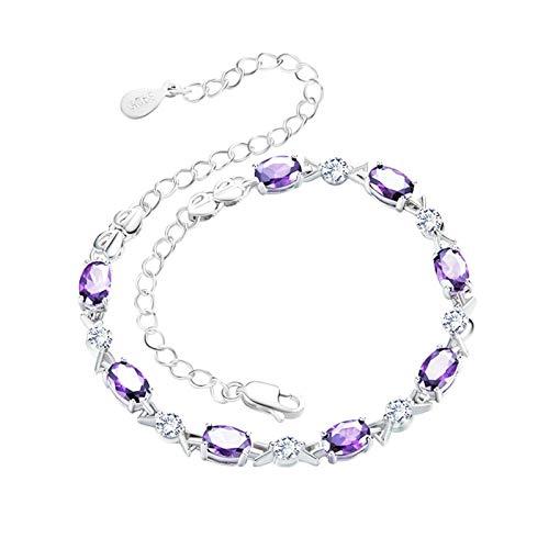 Aokarry Jewelry Women Sterling Silver Bracelet Oval Crystal Cz Link Bracelets Purple 15.5+5Cm