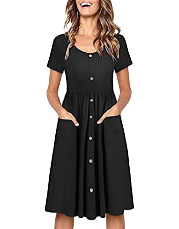 b75de16ab527 OUGES Women s Long Sleeve V Neck Button Down Skater Dress with Pockets