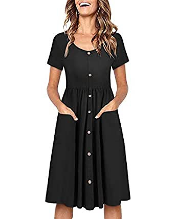 Image Unavailable. Image not available for. Color  OUGES Women s Long  Sleeve V Neck Button Down Midi Skater Dress with Pockets(Black395 4d3fd020e
