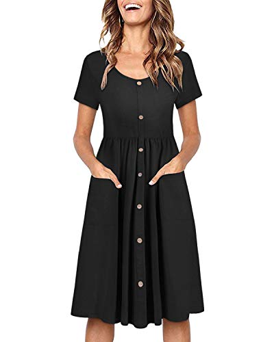 OUGES Women's Long Sleeve V Neck Button Down Midi Skater Dress with Pockets(Black395,S)