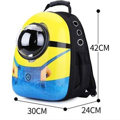 Petlicious & More Pet Backpack Carrier for Dog Cat Astronaut Capsule Breathable Travel Space for Cats Small Dogs and Petite Animals (Minion)