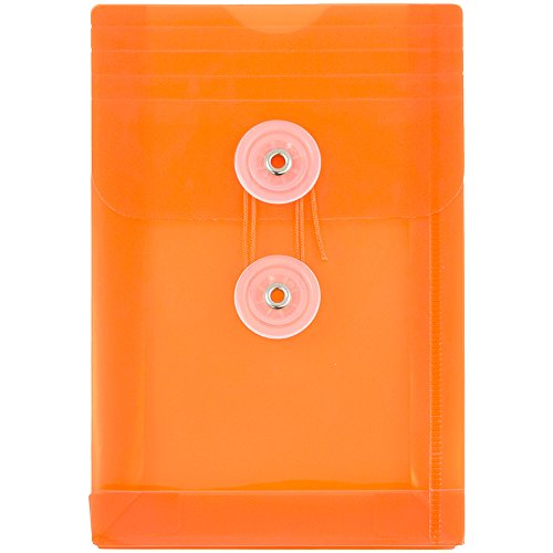 JAM PAPER Plastic Envelopes with Button & String Tie Closure - 4 1/4 x 6 1/4 - Orange - 12/Pack by JAM Paper