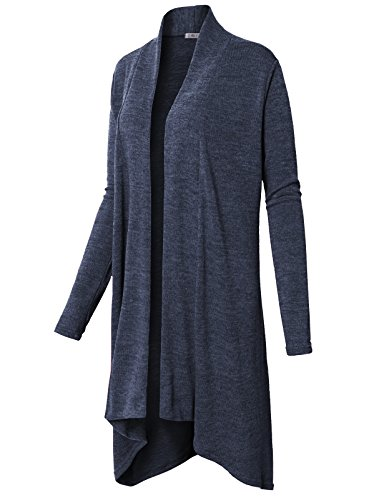 H2H Womens Soft Long Sleeve Open Front Draped Knit Shawl Cardigan Navy US L/Asia L (CWOCAL079)