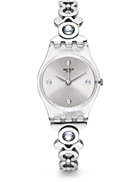 Swatch Women's 25mm Steel Bracelet Plastic Case Quartz Silver-Tone Dial Analog Watch LK359G