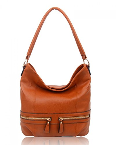 Bags CW150906 BROWN Faux Ladies Style Tote Bag Leather Shoulder Women's Fashion For ZIPPER LeahWard® Handbags xwnFz7FO