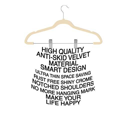 Premium Quality Velvet Pants Hanger Set of 26 - Ultra-Thin No Slip Velvet Skirts Hangers - Swivel Hooks, Space Saving Clothes Hangers - Great For Skirts, Dresses, Suits, Shirts & More - Slim IVORY by TechZoo (Image #9)