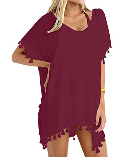 - DouBCQ Womens Chiffon Summer Sun Protective Loose Swimsuit Bikini Beach Cover ups (Red wine,Size A)