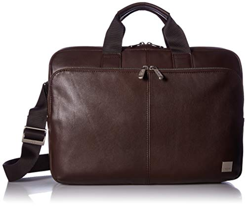 Leather Zip Brief - Knomo Luggage Men's Knomo Brompton Classic Newbury Full Leather Single Zip Brief 15