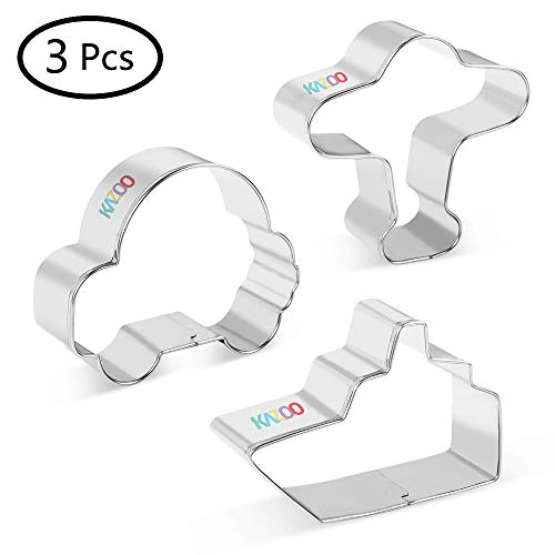 - KAZOO Cookie Cutter for Kids-3 Piece, Car Airplane Ship-Stainless Steel