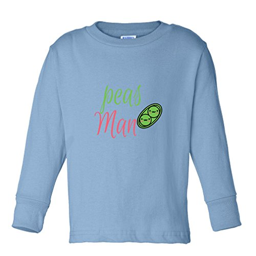 Peas Man! Peace Sig Kids Long Sleeve Cotton T-Shirt Tee Light Blue 4T