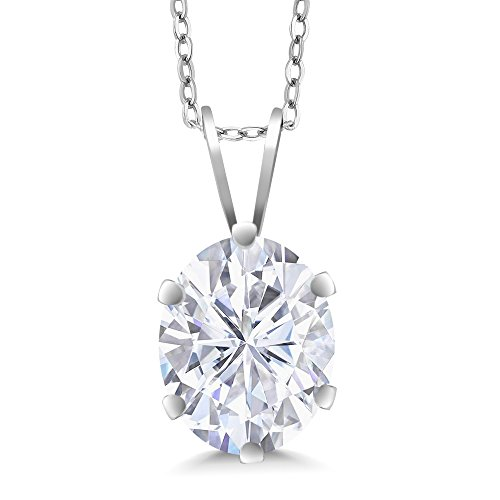 - 925 Sterling Silver Pendant Forever Classic Oval 2.10ct (DEW) Created Moissanite by Charles & Colvard