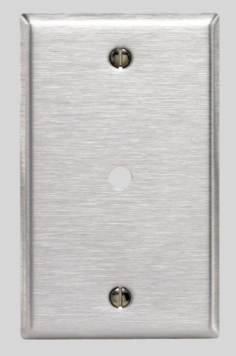 Leviton 84013-40 1-Gang .312-Inch Hole Device Telephone/Cable Wallplate, Box Mount, Stainless Steel