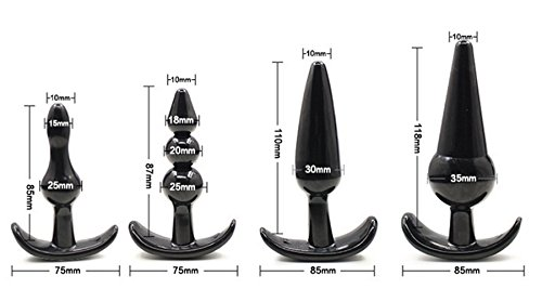 Bear boys 4 Pcs Adult Plugs Sexy Women Game Toys Beginner Party Supply Novelty Bedroom Solid Silicone (Black)