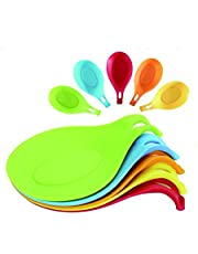 """Happy Reunion Silicone Holder 7.7"""" Kitchen Silicone Spoon Rest Set of 5 Flexible Almond-Shaped Heat Resistant Cooking Spoon Holder (5 Pcs Spoon Holder)"""