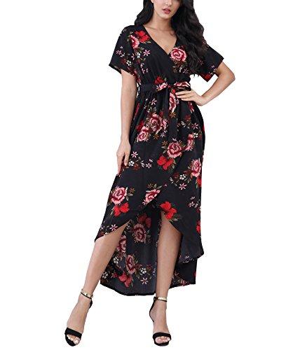 ROOSEY Boho Dresses, Women Boho Floral Printed Split Wrap Short Sleeve Maxi Long Dress Multicolored XL]()