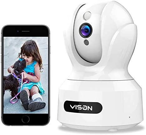 VISON Baby Monitor, WiFi pet Camera, FHD1080P Dog Camera, Wireless IP Camera, Home Security Camera with Alexa, Motion and Sound Detection, Motion Tracking, Two-Way Audio