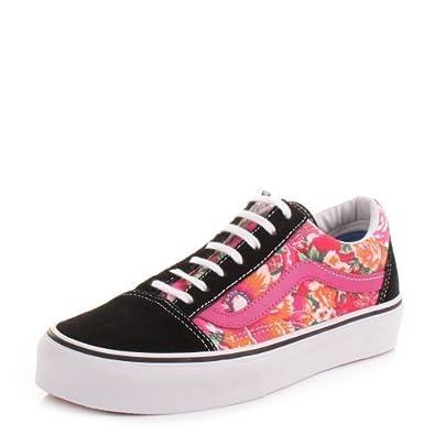 Womens Vans Old Skool Floral Pink Shoes