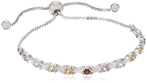 Cut Multi Gemstone Bracelet (Sterling Silver Multi Round Cut Gemstone Adjustable Bracelet)