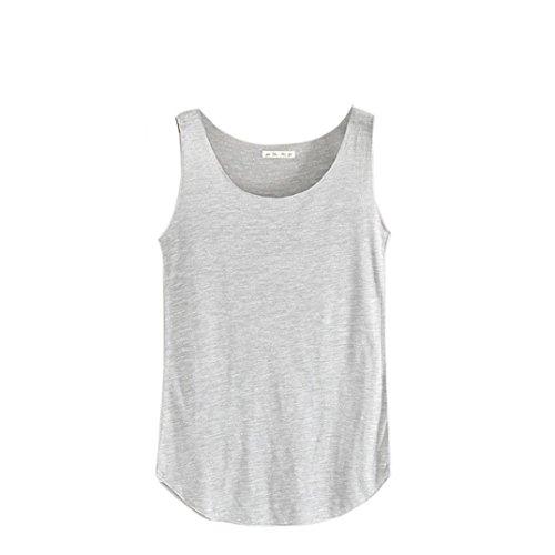 Gilet Col Femmes Chemise De Clair Adeshop Sans Couleur Unie Rond T Manches shirt Gris Débardeur D'été Sport Lâche B8x1xwAqX