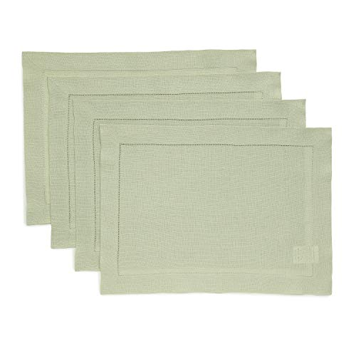 Solino Home Hemstitch Linen Placemats - Sage Green Set of 4, 14 x 19 Inch 100% European Flax Natural Fabric - Machine Washable Placemats - Handcrafted with Classic Hemstitch & Mitered Corners
