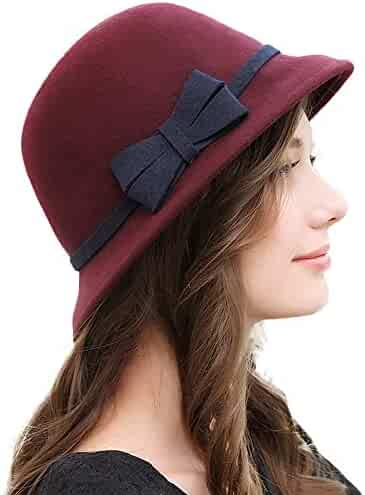 3e3c508ffe8 FADVES Wool Felt Hat Bowknot Fedoras Winter Wide Brim Fedora Ladies Formal  Hats
