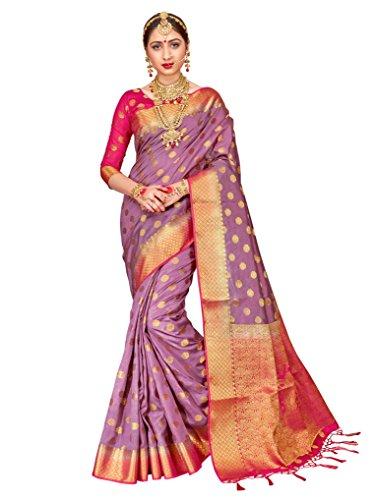 (ELINA FASHION Sarees for Women Banarasi Art Silk Woven Work Saree l Indian Wedding Ethnic Wear Sari & Blouse Piece (Violet))