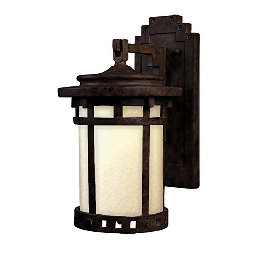 Maxim 3143MOSE Santa Barbara Dark Sky 1-LT Outdoor Wall Lantern, Sienna Finish, Mocha Glass, MB Incandescent Incandescent Bulb , 60W Max., Dry Safety Rating, 2700K Color Temp, Standard Dimmable, Glass -