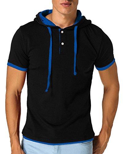 MODCHOK Men's Hoodies Short Sleeve Neck V T Shirts Tops Slim Casual Sweatshirt Hooded Black(Blue Rope) S ()