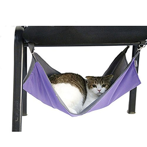 (Cat Hammock Bed Comfortable Pet Kitty Hanging Hammock Bed 2 Sides Sleep for Winter and Summer for Cats/ Small Dogs/ Rabbits/ other Small Animals - 20.86'' x 15'' (Purple))