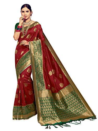 Sarees for Women Banarasi Art Silk Woven Saree l Indian Ethnic Wedding Gift Sari with Unstitched Blouse Maroon