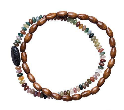 Bops Zengo Aromatherapy On The Go, Unisex Essential Oil Diffuser Bracelet Set (2pc), Natural Stones, Wood, Genuine Porous Lava Stone (Earthtone) ()
