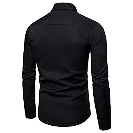 IYFBXl Mens Luxury//Basic Shirt Solid Colored Sequins