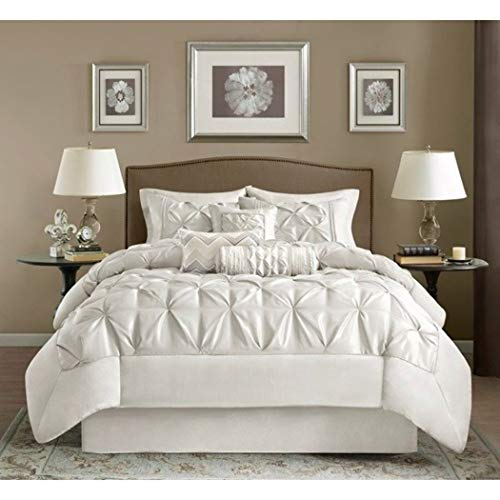 7 Piece Pearl White Puckered Comforter Cal King California Set, White Pintuck Solid Color Adult Bedding Master Bedroom Stylish Textured Tufted Pattern Classic Elegant Themed Traditional, Polyester