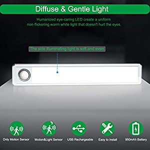 Deknei LED Closet Light,Rechargeable 33 LED Motion Sensor Under Cabinet Lights Wireless Night Lighting with 950mAh Battery for Closet,Cabinet,Wardrobe,Kitchen,Hallway (2 Sensor Modes)