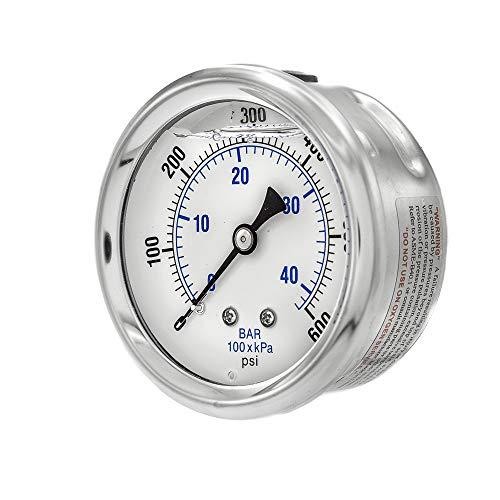 600 Psi Pressure Gauge - PIC Gauge PRO-202L-254K Glycerin Filled Industrial Center Back Mount Pressure Gauge with Stainless Steel Case, Brass Internals, Plastic Lens, 2-1/2