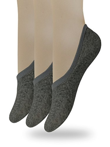 Eedor Women's No Show Socks with Reinforced Toe 3 Pack Charcoal Gray Large ()