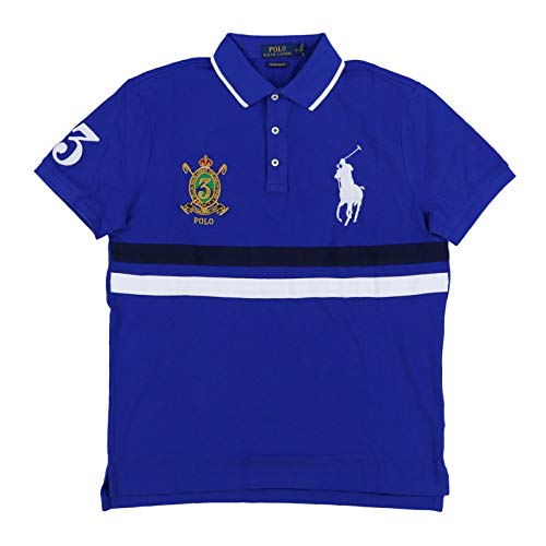 Mesh Big Polo Pony - Polo Ralph Lauren Mens Big Pony Custom Slim Fit Mesh Crest Polo (Small, Royal Blue)